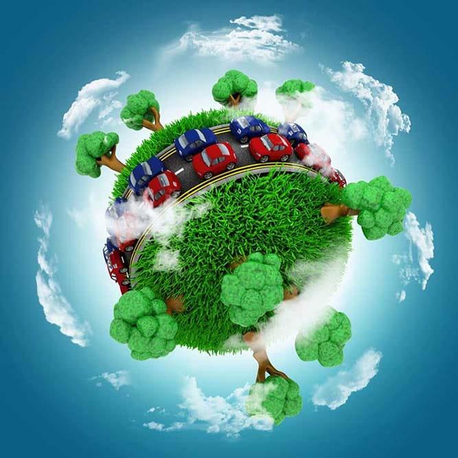 Image d'une planète miniature avec une route en son centre entourée de verdure et d'arbres et des voitures dessus