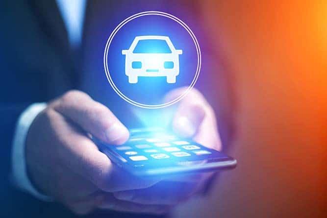 Projection holographique d'une icone de voiture