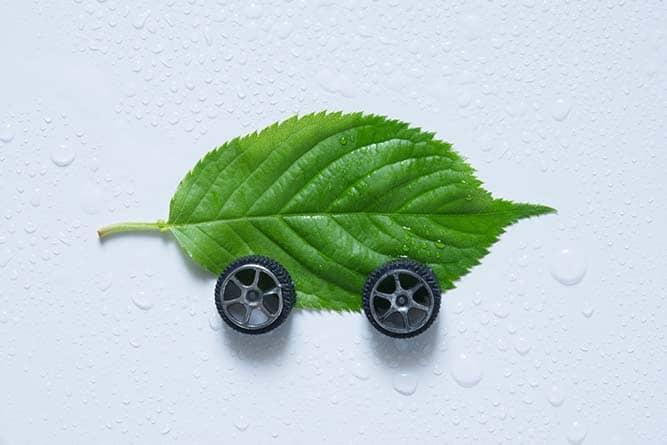 Feuille avec des roues pour ressembler à une voiture
