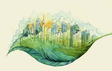 Ville peinte sur feuille