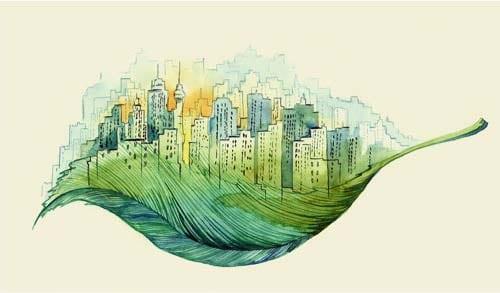 Dessin de ville dans une feuille d'arbre