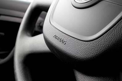 Vue du volant où est situé l'airbag